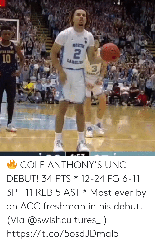 Anthony: KORTS  2  10  CARLIA  3  ta 🔥 COLE ANTHONY'S UNC DEBUT!   34 PTS * 12-24 FG 6-11 3PT 11 REB 5 AST   * Most ever by an ACC freshman in his debut.   (Via @swishcultures_ )    https://t.co/5osdJDmaI5