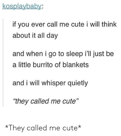"""Cute, Go to Sleep, and Sleep: kosplaybaby:  if you ever call me cute i will think  about it all day  and when i go to sleep i'll just be  a little burrito of blankets  and i will whisper quietly  """"they called me cute""""  51 *They called me cute*"""