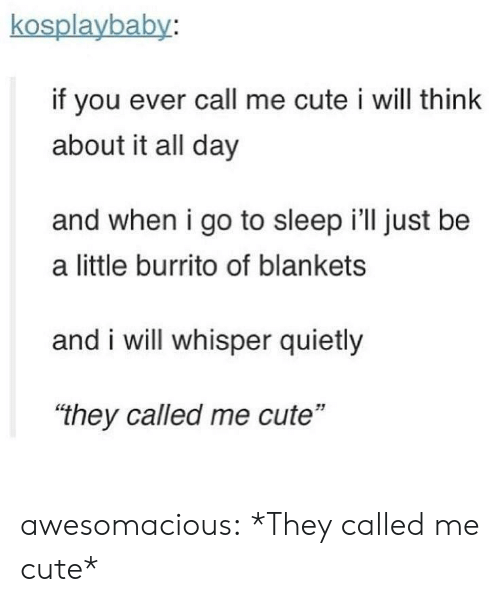 """Cute, Go to Sleep, and Tumblr: kosplaybaby:  if you ever call me cute i will think  about it all day  and when i go to sleep i'll just be  a little burrito of blankets  and i will whisper quietly  """"they called me cute""""  51 awesomacious:  *They called me cute*"""