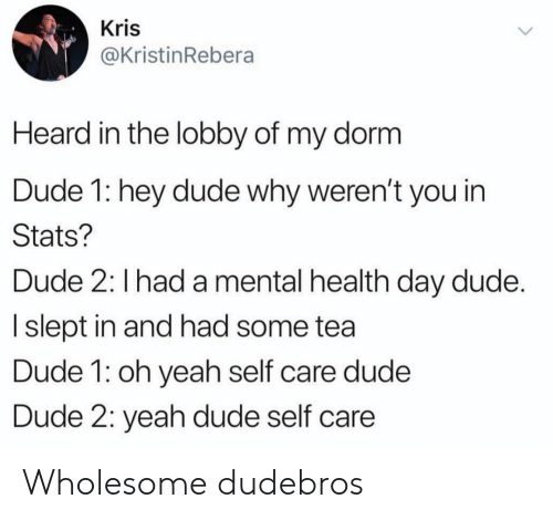 slept: Kris  @KristinRebera  Heard in the lobby of my dorm  Dude 1: hey dude why weren't you in  Stats?  Dude 2: I had a mental health day dude.  I slept in and had some tea  Dude 1: oh yeah self care dude  Dude 2: yeah dude self care Wholesome dudebros