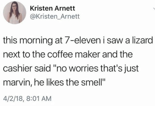 """7-Eleven, Saw, and Smell: Kristen Arnett  @Kristen_Arnett  this morning at 7-eleven i saw a lizard  next to the coffee maker and the  cashier said """"no worries that's just  marvin, he likes the smell""""  4/2/18, 8:01 AM"""
