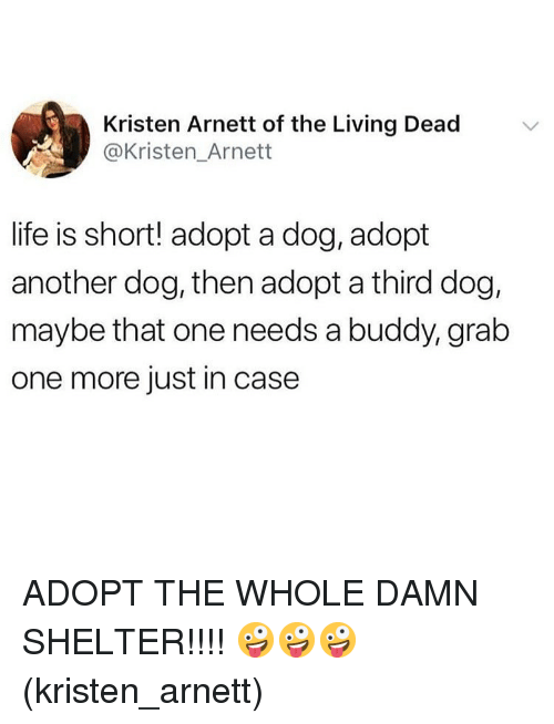 Life, Memes, and Living: Kristen Arnett of the Living Dead  @Kristen_Arnett  life is short! adopt a dog, adopt  another dog, then adopt a third dog,  maybe that one needs a buddy, grab  one more just in case ADOPT THE WHOLE DAMN SHELTER!!!! 🤪🤪🤪(kristen_arnett)