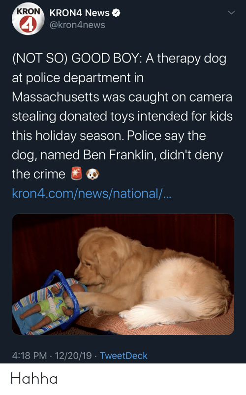 Ben Franklin: KRON KRON4 News O  4 @kron4news  (NOT SO) GOOD BOY: A therapy dog  at police department in  Massachusetts was caught on camera  stealing donated toys intended for kids  this holiday season. Police say the  dog, named Ben Franklin, didn't deny  the crime  kron4.com/news/national/..  4:18 PM · 12/20/19 · TweetDeck Hahha