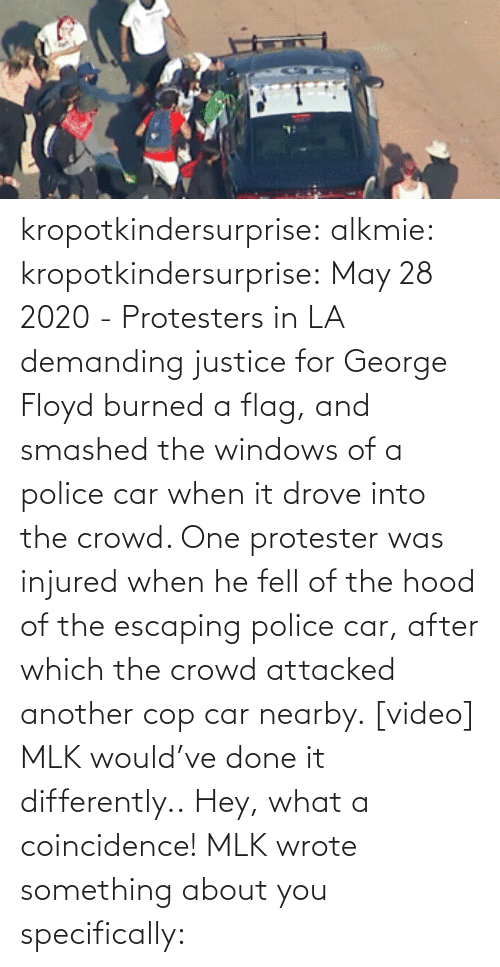 Justice: kropotkindersurprise:  alkmie: kropotkindersurprise: May 28 2020 - Protesters in LA demanding justice for George Floyd burned a flag, and smashed the windows of a police car when it drove into the crowd. One protester was injured when he fell of the hood of the escaping police car, after which the crowd attacked another cop car nearby. [video]   MLK would've done it differently..  Hey, what a coincidence! MLK wrote something about you specifically: