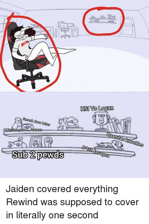 Smashing, Smash Bros, and Ksi: KSI Vs Logan  Smash Bros letter  Sub 2 pewds Jaiden covered everything Rewind was supposed to cover in literally one second