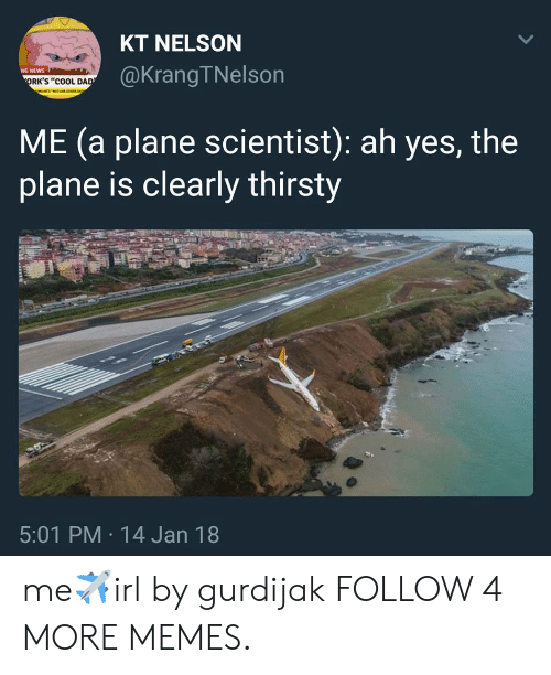 "orks: KT NELSON  @KrangTNelson  NG NEWS  ORK'S ""COOL DAD  ME (a plane scientist): ah yes, the  plane is clearly thirsty  5:01 PM 14 Jan 18  > me✈irl by gurdijak FOLLOW 4 MORE MEMES."