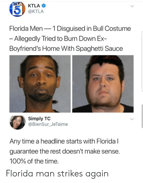 Doesnt Make Sense: KTLA  @KTLA  Florida Men-1 Disguised in Bull Costume  Allegedly Tried to Burn Down Ex-  Boyfriend's Home With Spaghetti Sauce  Simply TO  @BienSur_JeTaime  Any time a headline starts with Floridal  guarantee the rest doesn't make sense  100% of the time Florida man strikes again