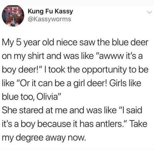 "Be Like, Deer, and Girls: Kung Fu Kassy  @Kassyworms  My 5 year old niece saw the blue deer  on my shirt and was like ""awww it's a  boy deer!"" I took the opportunity to be  like ""Or it can be a girl deer! Girls like  blue too, Olivia""  She stared at me and was like ""l said  it's a boy because it has antlers."" Take  my degree away now"
