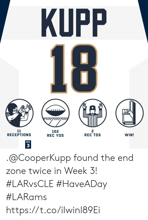 Memes, 🤖, and Rec: KUPP  18  11  RECEPTIONS  2  REC TDS  102  REC YDS  WIN!  WK  3 .@CooperKupp found the end zone twice in Week 3! #LARvsCLE #HaveADay  #LARams https://t.co/iIwinl89Ei