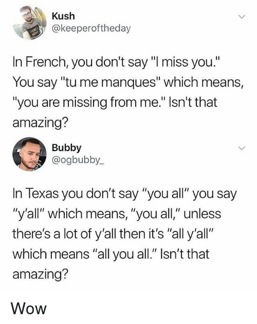 "Memes, Wow, and Texas: Kush  @keeperoftheday  In French,you don't say ""I miss you.""  You say ""tu me manques"" which means,  ""you are missing from me."" Isn't that  amazing?  Bubby  @ogbubby  In Texas you don't say ""you all"" you say  ""y'all"" which means, ""you all,"" unless  there's a lot of y'all then it's ""all y'all""  which means ""all you all."" Isn't that  amazing? Wow"