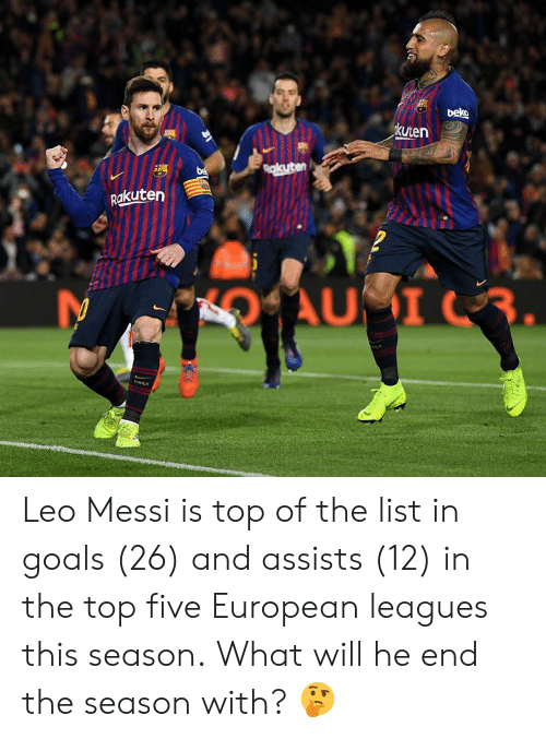 Goals, Memes, and Messi: kuten  akuten Leo Messi is top of the list in goals (26) and assists (12) in the top five European leagues this season.  What will he end the season with? 🤔