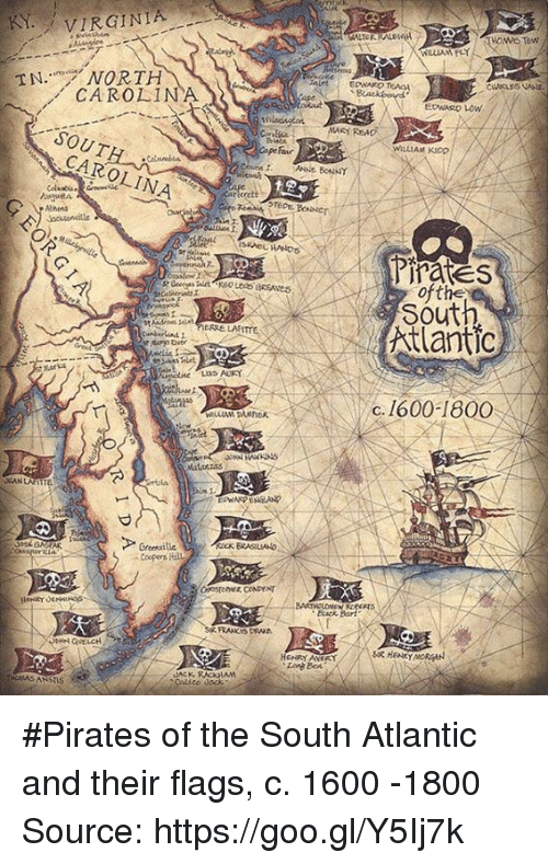 Atlante: KY. VIRGINIA  N. NORTH  CAROLINA  SOUT  CAROLINA  eRRE LAET  Matanzas  Greenville  Coopers  WALTOR  MARY READ  WILLIAM KIDO  ANNE BONNY  t 2  Pirates  of the  Atlantic  C. 1600-1800 #Pirates of the South Atlantic and their flags, c. 1600 -1800  Source: https://goo.gl/Y5Ij7k