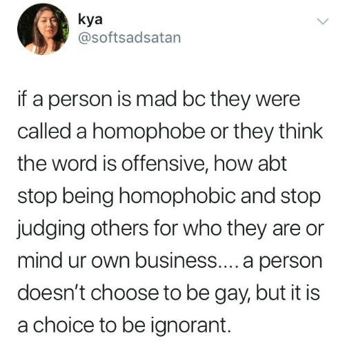 kya: kya  @softsadsatan  if a person is mad bc they were  called a homophobe or they think  the word is offensive, how abt  stop being homophobic and stop  judging others for who they are or  mind ur own business.... a person  doesn't choose to be gay, but it is  a choice to be ignorant.