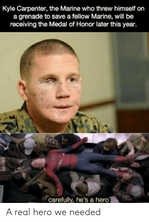 marine: Kyle Carpenter, the Marine who threw himself on  a grenade to save a fellow Marine, will be  receiving the Medal of Honor later this year.  carefully, he's a hero) A real hero we needed