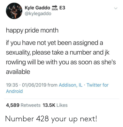 not yet: Kyle Gaddo  @kylegaddo  E3  SOON  happy pride month  if you have not yet been assigned a  sexuality, please take a number and jk  rowling will be with you as soon as she's  available  19:35 01/06/2019 from Addison, IL Twitter for  Android  4,589 Retweets 13.5K Likes Number 428 your up next!