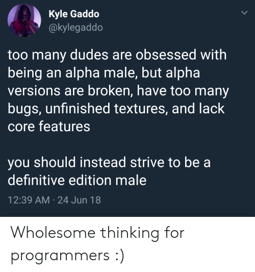 Wholesome, Alpha, and Core: Kyle Gaddo  @kylegaddo  too many dudes are obsessed with  being an alpha male, but alpha  versions are broken, have too many  bugs, unfinished textures, and lack  core features  you should instead strive to be a  definitive edition male  12:39 AM 24 Jun 18 Wholesome thinking for programmers :)