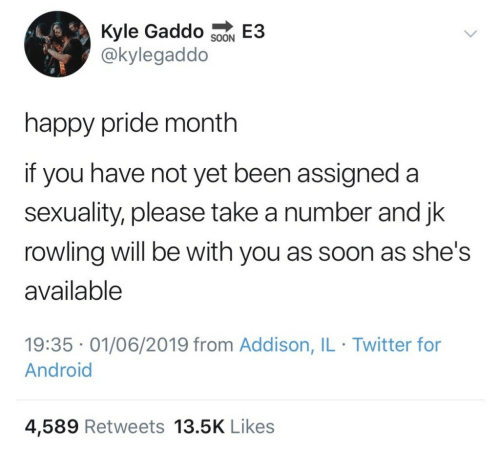 not yet: Kyle Gaddo SoN E3  @kylegaddo  happy pride month  if you have not yet been assigned a  sexuality, please take a number and jk  rowling will be with you as soon as she's  available  19:35 01/06/2019 from Addison, IL Twitter for  Android  4,589 Retweets 13.5K Likes