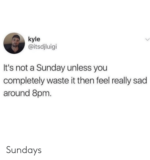 Sunday, Sad, and A Sunday: kyle  @itsdjluigi  It's not a Sunday unless you  completely waste it then feel really sad  around 8prm Sundays