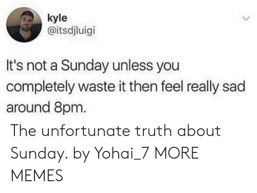 Dank, Memes, and Target: kyle  @itsdjluigi  It's not a Sunday unless you  completely waste it then feel really sad  around 8pm. The unfortunate truth about Sunday. by Yohai_7 MORE MEMES