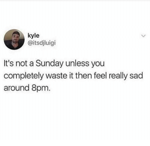 8Pm: kyle  @itsdjluigi  It's not a Sunday unless you  completely waste it then feel really sad  around 8pm