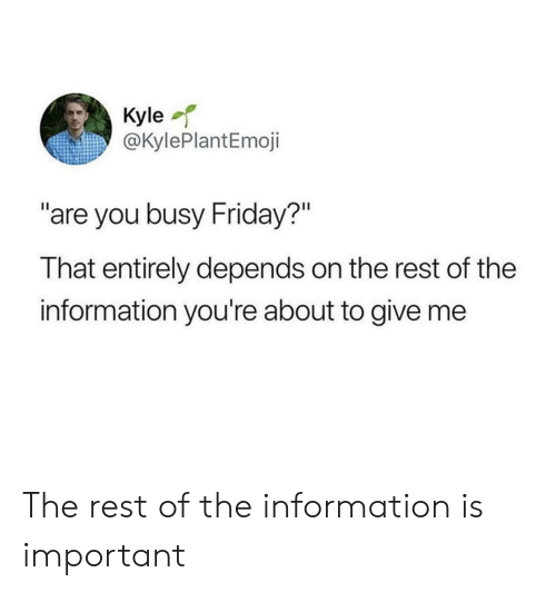 "Friday, Information, and Rest: Kyle  @KylePlantEmoji  ""are you busy Friday?""  That entirely depends on the rest of the  information you're about to give me The rest of the information is important"