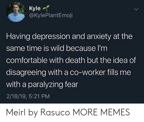 Comfortable, Dank, and Memes: Kyle  @KylePlantEmoji  Having depression and anxiety at the  same time is wild because l'm  comfortable with death but the idea of  disagreeing with a co-worker fills me  with a paralyzing fear  2/18/19, 5:21 PM Meirl by Rasuco MORE MEMES