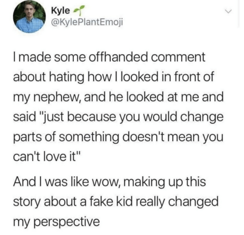 "Hating: Kyle  @KylePlantEmoji  Imade some offhanded comment  about hating how I looked in front of  my nephew, and he looked at me and  said ""just because you would change  parts of something doesn't mean you  can't love it""  And I was like wow, making up this  story about a fake kid really changed  my perspective"