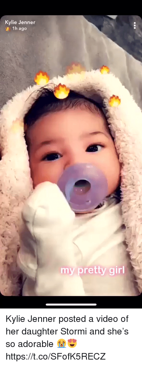 Kylie Jenner, Video, and Relatable: Kylie Jenner  1h ago  my pretty gir Kylie Jenner posted a video of her daughter Stormi and she's so adorable 😭😍 https://t.co/SFofK5RECZ