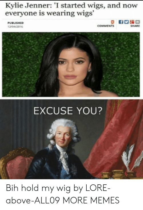 Hold My: Kylie Jenner: 'I started wigs, and now  everyone is wearing wigs'  PUBLISHED  COMMENTS  SHARE  12/04/2016  EXCUSE YOU? Bih hold my wig by LORE-above-ALL09 MORE MEMES