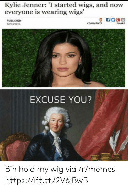Hold My: Kylie Jenner: 'I started wigs, and now  everyone is wearing wigs'  PUBLISHED  COMMENTS  SHARE  12/04/2016  EXCUSE YOU? Bih hold my wig via /r/memes https://ift.tt/2V6iBwB