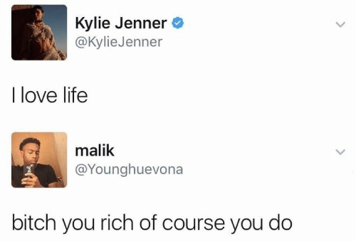 Kylie Jenner: Kylie Jenner  @Kylie Jenner  I love life  malik  @Younghuevona  bitch you rich of course you do