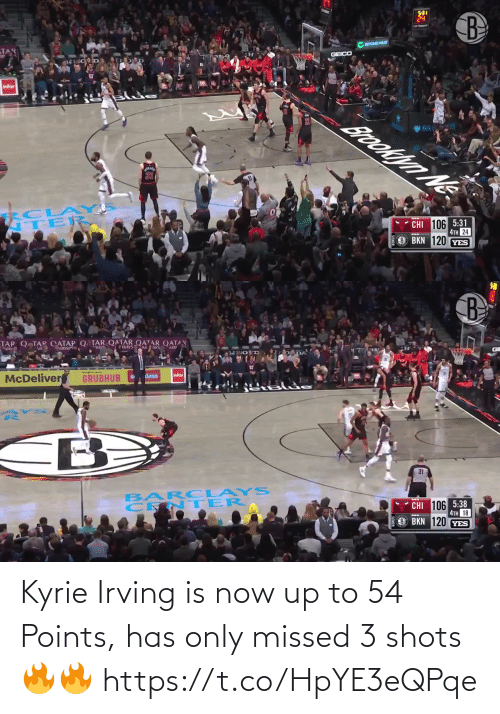 Points: Kyrie Irving is now up to 54 Points, has only missed 3 shots🔥🔥 https://t.co/HpYE3eQPqe