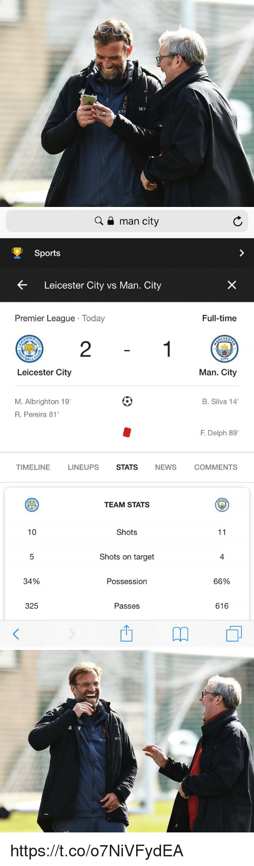 "Memes, News, and Premier League: L.  125  BET  ETV   Q a man city  Sports  Leicester City vs Man. City  Premier League Today  Full-time  CHES  2  CITY  Leicester City  Man. City  M. Albrighton 19  R. Pereira 81  B. Silva 14  F. Delph 89""  TIMELINE  LINEUPS  STATS  NEWS  COMMENTS  TEAM STATS  10  Shots  Shots on target  4  34%  Possession  66%  325  Passes  616 https://t.co/o7NiVFydEA"