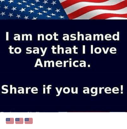 America, Love, and Memes: l am not ashamed  to say that I love  America.  Share if you agree! 🇺🇲️🇺🇲️🇺🇲️