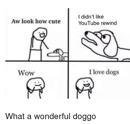 Love Dogs: l didn't like  YouTube rewind  Aw look how cute  Wow  I love dogs What a wonderful doggo