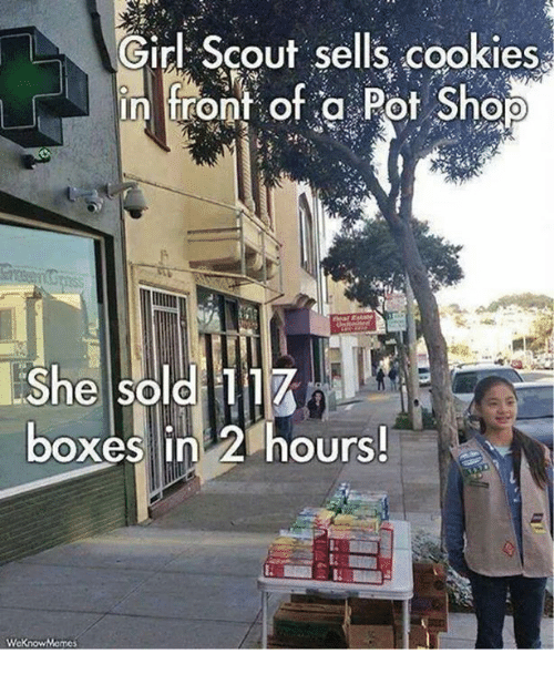 Cookies, Girl Scouts, and Memes: L Girl Scout sells cookies  in front of a Pot Shop  She sold 117  boxes in 2 hours!  WeKnowMemes