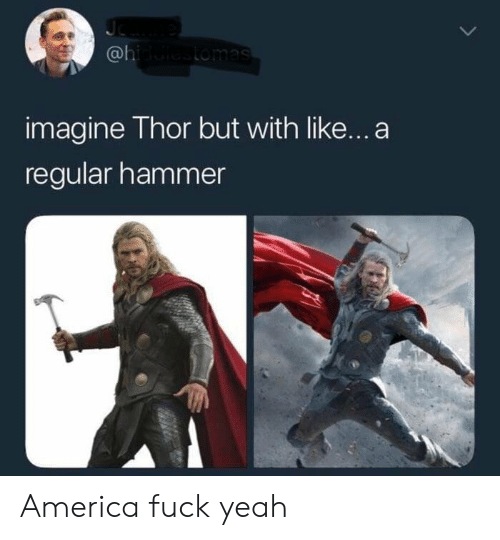 Americas Fucked: @l  imagine Thor but with like...a  regular hammer America fuck yeah
