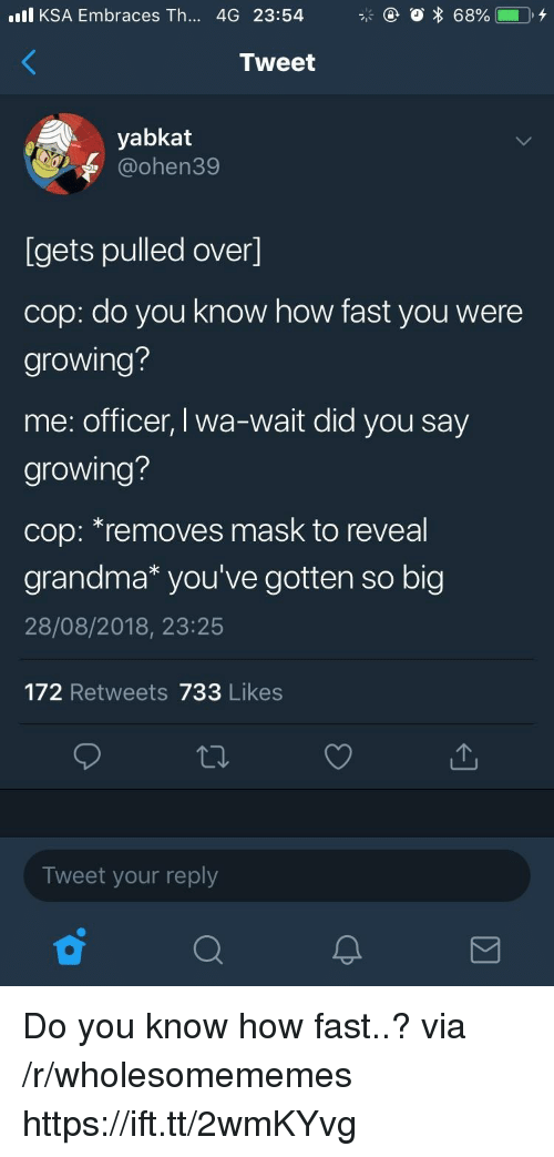 Grandma, Mask, and How: l KSA Embraces Th... 4G 23:54  Tweet  yabkat  @ohen39  Igets pulled over]  cop: do you know how fast you were  growing?  me: officer, I wa-wait did you say  growing?  cop: *removes mask to reveal  grandma* you've gotten so big  28/08/2018, 23:25  172 Retweets 733 Likes  Tweet your reply Do you know how fast..? via /r/wholesomememes https://ift.tt/2wmKYvg