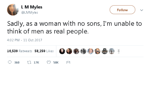 Oct 2017: L M Myles  @LMMyles  Follow  Sadly, as a woman with no sons, I'm unable to  think of men as real people.  4:02 PM - 11 Oct 2017  16,539 Retweets 58,259 Likes  Od●