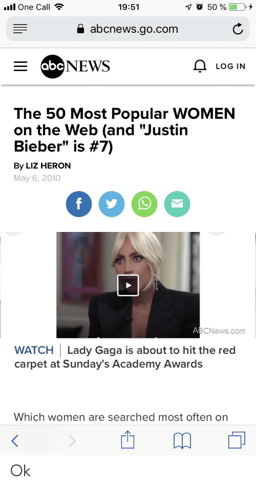 """Academy Awards, Facepalm, and Justin Bieber: l One Call  7O 50 %  19:51  abcnews.go.com  EabcNEWS  LOG IN  The 50 Most Popular WOMEN  on the Web (and """"Justin  Bieber"""" is #7)  By LIZ HERON  May 6, 2010  f  ABCNews.com  WATCH Lady Gaga is about to hit the red  carpet at Sunday's Academy Awards  Which women are searched most often on Ok"""