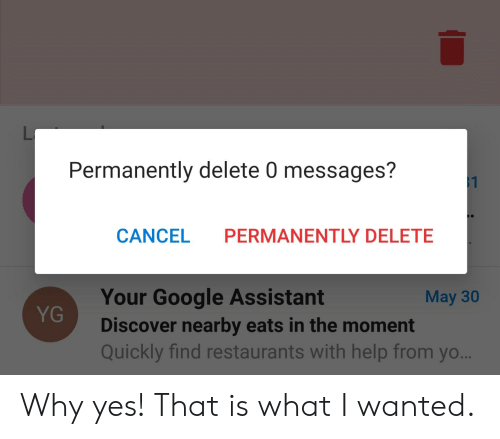 Permanently Delete: L  Permanently delete 0 messages?  $1  CANCEL  PERMANENTLY DELETE  Your Google Assistant  May 30  YG  Discover nearby eats in the moment  Quickly find restaurants with help from yo... Why yes! That is what I wanted.