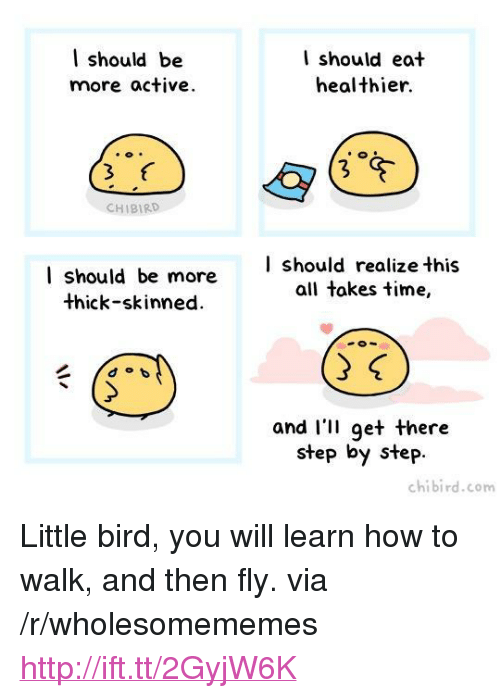 "How To, Http, and Time: l should be  more active  I should eat  healthier.  CHIBIRD  I should be more  thick-skinned.  | should realize this  all takes time,  and I'II get there  step by step  chibird.com <p>Little bird, you will learn how to walk, and then fly. via /r/wholesomememes <a href=""http://ift.tt/2GyjW6K"">http://ift.tt/2GyjW6K</a></p>"