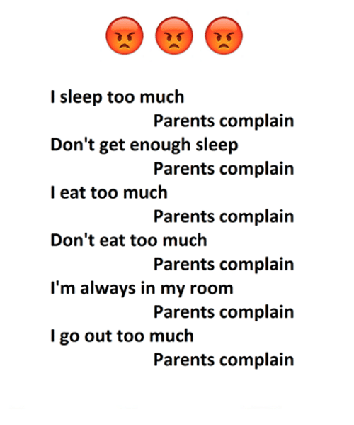 Complainer: l sleep too much  Don't get enough sleep  l eat too much  Don't eat too much  Parents complain  Parents complain  Parents complain  Parents complain  Parents complain  Parents complain  I'm always in my room  I go out too much