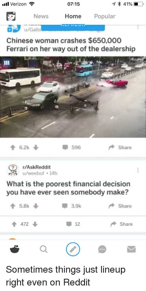 Ferrari, Funny, and News: l Verizon  07:15  News  Home Popular  u/Gallo  Chinese woman crashes $650,000  Ferrari on her way out of the dealership  596  Share  r/AskReddit  u/weebof 14h  What is the poorest financial decision  you have ever seen somebody make?  3.9k  Share  472  12  Share