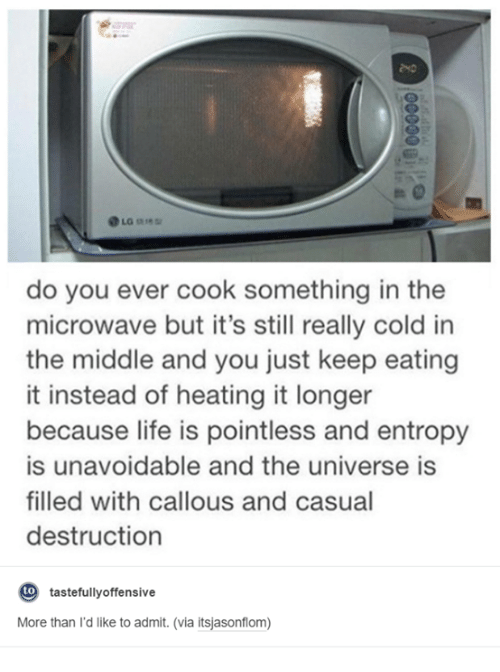tastefully offensive: La  do you ever cook something in the  microwave but it's still really cold in  the middle and you just keep eating  it instead of heating it longer  because life is pointless and entropy  is unavoidable and the universe is  filled with callous and casual  destruction  to  tastefully offensive  More than I'd like to admit. (via itsjasonflom)