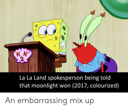 Mixed Up: La La Land spokesperson being told  that moonlight won (2017, colourized) An embarrassing mix up