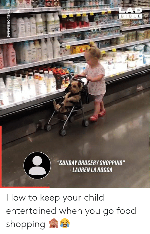 """Dank, Food, and Shopping: LAD  BIBLE  """"SUNDAY GROCERY SHOPPING""""  -LAUREN LA ROCCA  THELIONSMAMA] How to keep your child entertained when you go food shopping 🙈😂"""