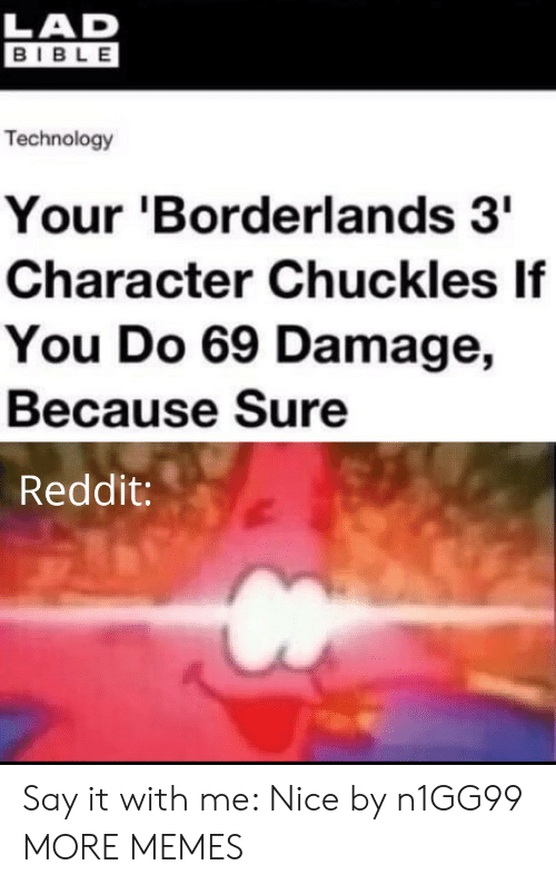 borderlands 3: LAD  BIBLE  Technology  Your 'Borderlands 3  Character Chuckles If  You Do 69 Damage,  Because Sure  Reddit: Say it with me: Nice by n1GG99 MORE MEMES