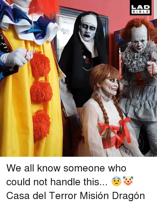 Dank, Bible, and 🤖: LAD  BIBLE We all know someone who could not handle this... 😨🤡  Casa del Terror Misión Dragón