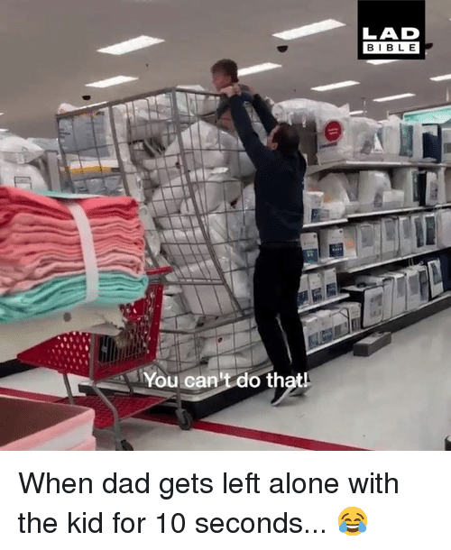 Being Alone, Dad, and Dank: LAD  BIBLE  You can't do thatl When dad gets left alone with the kid for 10 seconds... 😂